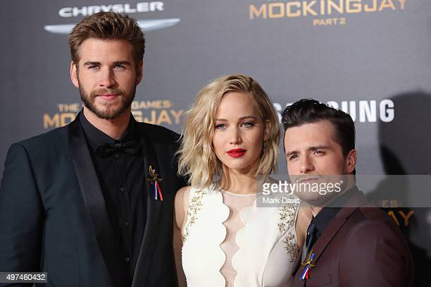 Actors Liam Hemsworth Jennifer Lawrence and Josh Hutcherson attend premiere of Lionsgate's The Hunger Games Mockingjay Part 2 at Microsoft Theater on...