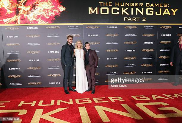 """Actors Liam Hemsworth, Jennifer Lawrence and Josh Hutcherson attend premiere of Lionsgate's """"The Hunger Games: Mockingjay - Part 2"""" at Microsoft..."""