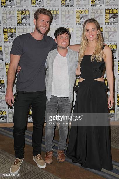 Actors Liam Hemsworth Josh Hutcherson and Jennifer Lawrence attend ComicCon International on July 9 2015 in San Diego California