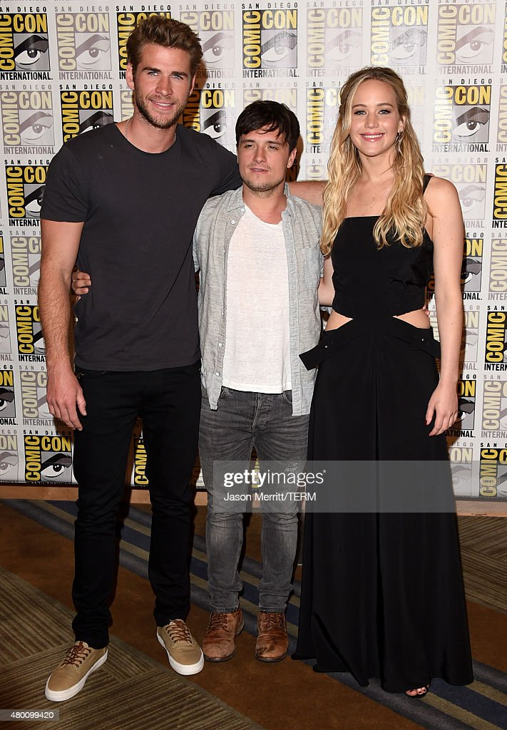 Actors Liam Hemsworth, Josh Hutcherson and Jennifer Lawrence of 'The Hunger Games: Mockingjay - Part 2' attends the Lionsgate press room during Comic-Con International 2015 at the Hilton Bayfront on July 9, 2015 in San Diego, California.
