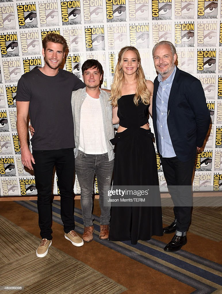 Actors Liam Hemsworth, Josh Hutcherson, Jennifer Lawrence and director Francis Lawrence of 'The Hunger Games: Mockingjay - Part 2' attends the Lionsgate press room during Comic-Con International 2015 at the Hilton Bayfront on July 9, 2015 in San Diego, California.