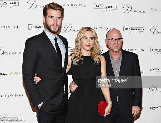 Actors Liam Hemsworth Kate Winslet and producer Bob Berney attend as London Fog presents a New York special screening of 'The Dressmaker' on...