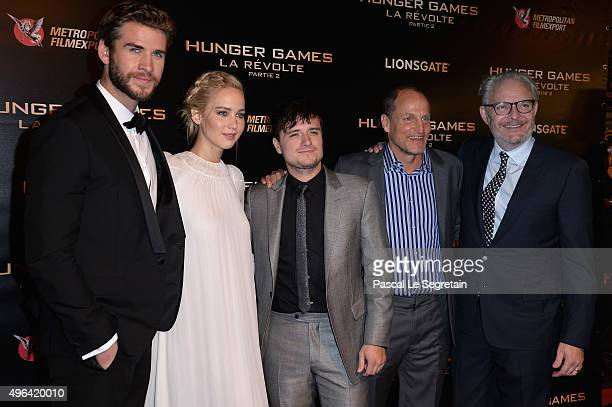 Actors Liam HemsworthJennifer LawrenceJosh HutchersonWoody Harrelson and Director Francis Lawrence attend The Hunger Games Mockingjay Part 2 Premiere...