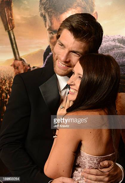 Actors Liam McIntyre and Erin Hasan attend the Spartacus War Of The Damned premiere at Regal Cinemas LA LIVE Stadium 14 on January 22 2013 in Los...
