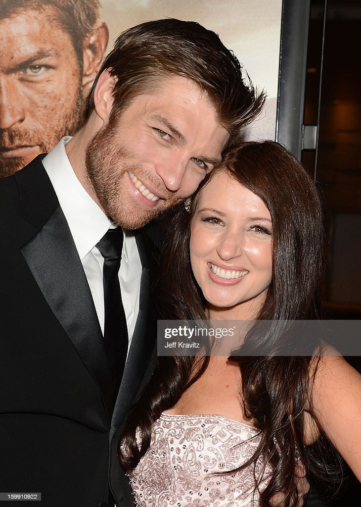 Actors Liam McIntyre (L) and Erin Hasan attend the 'Spartacus: War Of The Damned' premiere at Regal Cinemas L.A. LIVE Stadium 14 on January 22, 2013 in Los Angeles, California.