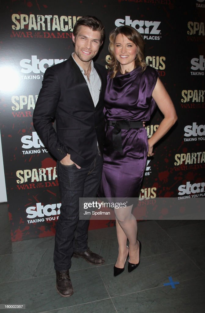 Actors Liam McIntyre and Lucy Lawless attend the 'Spartacus: War Of The Damned' Series Finale Premiere at the Museum of Modern Art on January 24, 2013 in New York City.