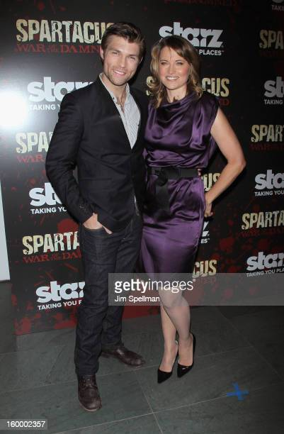 Actors Liam McIntyre and Lucy Lawless attend the Spartacus War Of The Damned Series Finale Premiere at the Museum of Modern Art on January 24 2013 in...