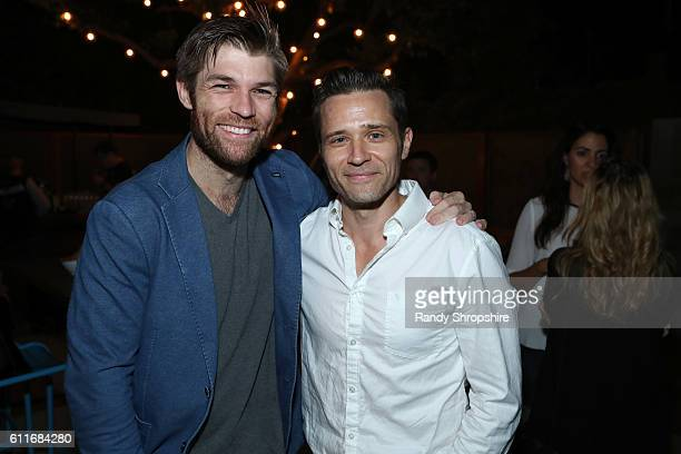 Actors Liam McIntyre left and Seamus Deaver attend the Xbox Gears Of War 4 Los Angeles launch event at The Microsoft Lounge on September 30 2016 in...