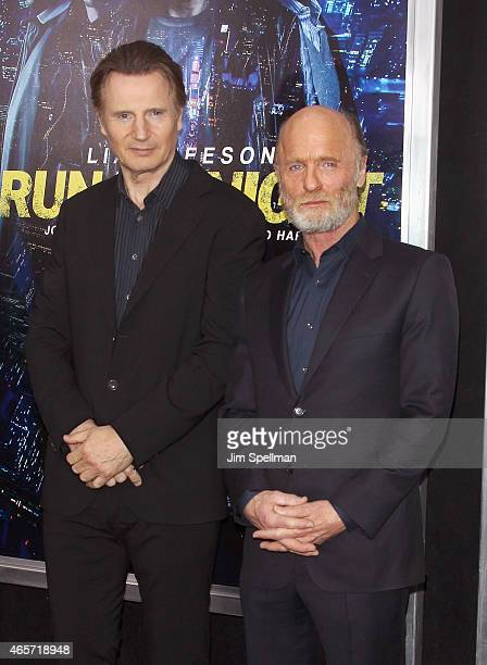Actors Liam Neeson and Ed Harris attend the Run All Night New York premiere at AMC Lincoln Square Theater on March 9 2015 in New York City