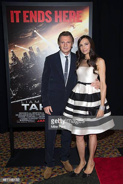 Actors Liam Neeson and Famke Janssen attend the 'Taken 3' Fan Event Screening at the AMC Empire 25 theater on January 7 2015 in New York City