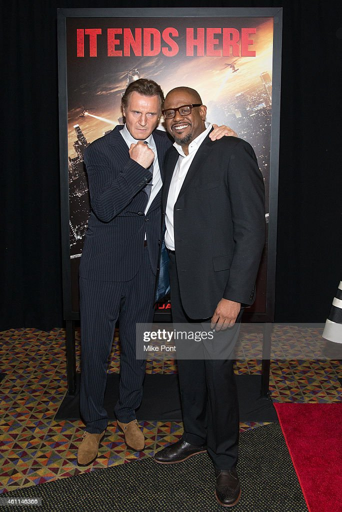 Actors Liam Neeson and Forest Whitaker attend the 'Taken 3' Fan Event Screening at the AMC Empire 25 theater on January 7, 2015 in New York City.