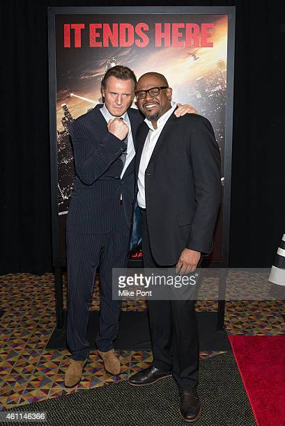 Actors Liam Neeson and Forest Whitaker attend the 'Taken 3' Fan Event Screening at the AMC Empire 25 theater on January 7 2015 in New York City
