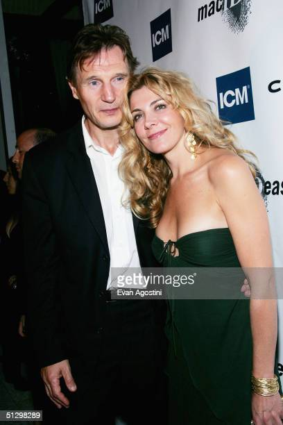 Actors Liam Neeson and Natasha Richardson attend an ICM party at Adriatico during the 2004 Toronto International Film Festival on September 12 2004...
