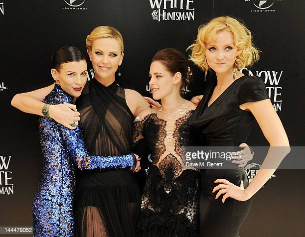 Actors Liberty Ross Charlize Theron Kristen Stewart and Lily Cole attend the World Premiere of 'Snow White And The Huntsman' at Empire Leicester...