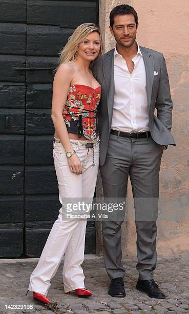 Actors Licia Nunez and Luca Capuano attend 'Le Tre Rose Di Eva' Mediaset TV series photocall at Castello di Torrimpietra on April 2 2012 in Rome Italy