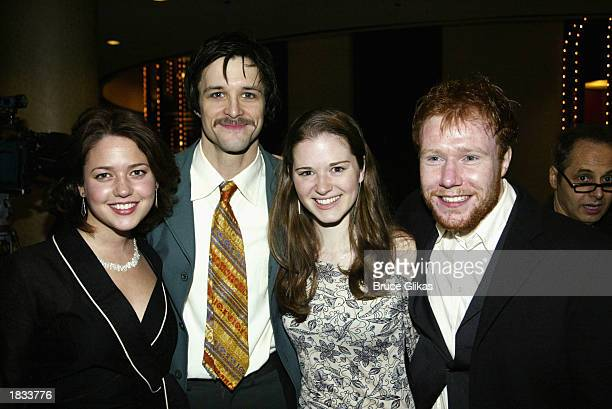 Actors Liesel Matthews Peter Starrett actress Sarah Drew and actor Jochum ten Haaf attend the Opening Night Party for The Lincoln Center Theater...