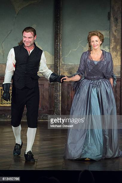 Actors Liev Schreiber and Janet McTeer appear during the curtain call of Les Liaisons Dangereuses broadway revival opening night at Booth Theatre on...