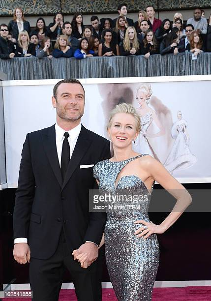 Actors Liev Schreiber and Naomi Watts arrive at the Oscars at Hollywood Highland Center on February 24 2013 in Hollywood California
