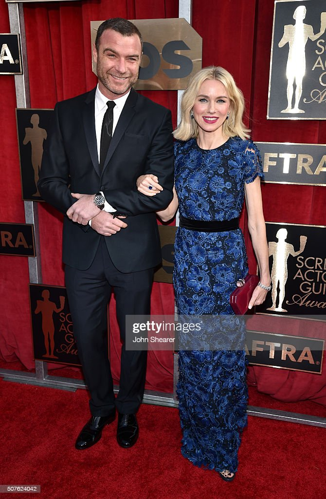 Actors Liev Schreiber and Naomi Watts attend the 22nd Annual Screen Actors Guild Awards at The Shrine Auditorium on January 30, 2016 in Los Angeles, California.