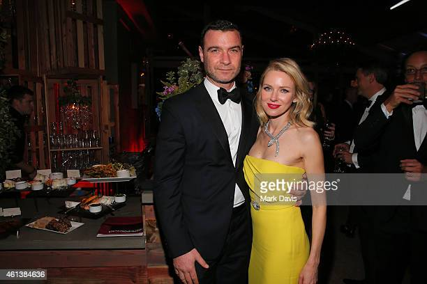 Actors Liev Schreiber and Naomi Watts attend The 72nd Annual Golden Globe Awards at The Beverly Hilton on January 11 2015 in Beverly Hills California
