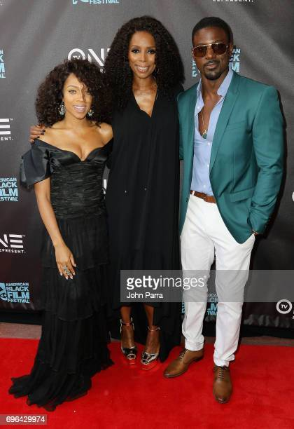 Actors Lil Mama Tasha Smith and Lance Gross attend the TV One World Premiere Of 'When Love Kills The Falicia Blakely Story' at Colony Theater on June...