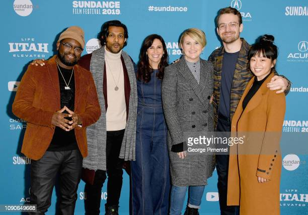 Actors Lil Rel Howery Utkarsh Ambudkar Michaela Watkins Jillian Bell Micah Stock and Alice Lee attend the Brittany Runs A Marathon Premiere during...