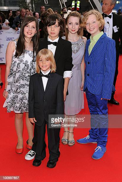 Actors Lil Woods Asa Butterfield Rose TaylorRitson Eros Valhos and Oscar Steer attend the National Movie Awards 2010 at the Royal Festival Hall on...