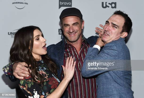 Actors Lili Mirojnick Christopher Meloni and Patrick Fischler arrive at NBCUniversal's Press Junket at Beauty Essex on November 13 2017 in Los...