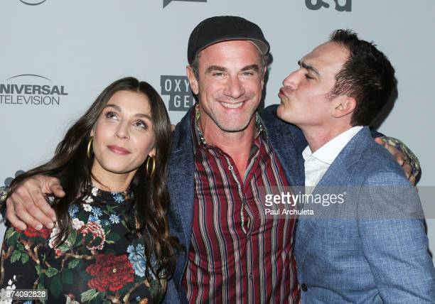 Actors Lili Mirojnick Christopher Meloni and Patrick Fischler attends NBCUniversal's press junket at Beauty Essex on November 13 2017 in Los Angeles...