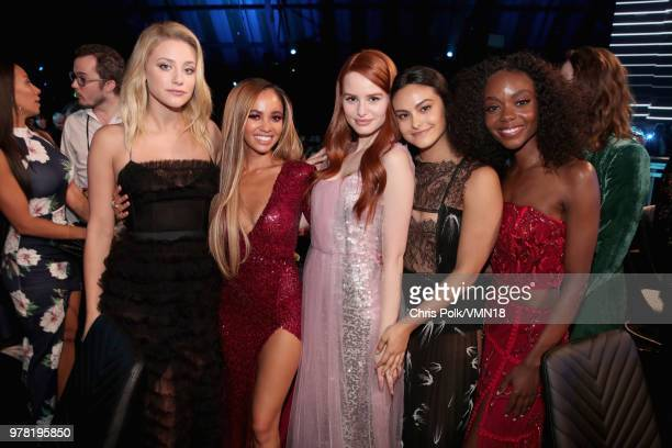 Actors Lili Reinhart Vanessa Morgan Madelaine Petsch Camila Mendes and Ashleigh Murray pose during the 2018 MTV Movie And TV Awards at Barker Hangar...