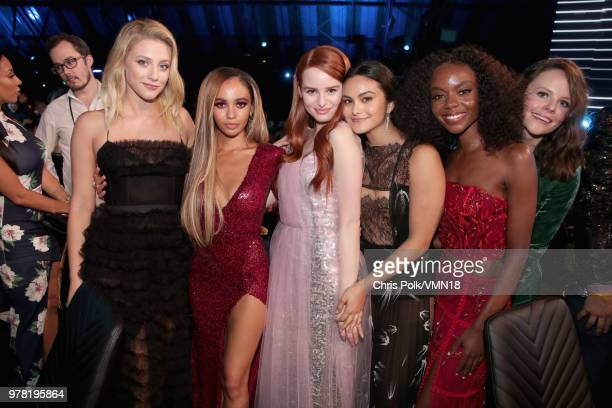 Actors Lili Reinhart Vanessa Morgan Madelaine Petsch Camila Mendes and Ashleigh Murray attends the 2018 MTV Movie And TV Awards at Barker Hangar on...