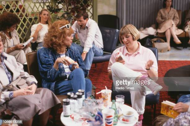 Actors Lill Roughley Julie Walters and Victoria Wood in a scene from episode 'We'd Like to Apologise' of the BBC television series 'Victoria Wood'...