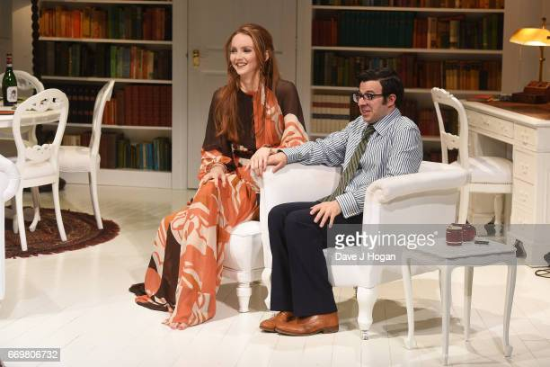 Actors Lily Cole and Simon Bird rehearse ahead of Thursday's official West End opening of The Philanthropist directed by Simon Callow at Trafalgar...