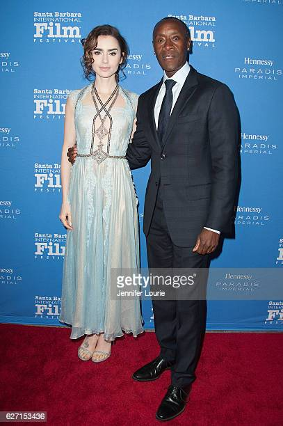 Actors Lily Collins and Don Cheadle arrive at the Santa Barbara International Film Festival honors Warren Beatty with the 11th Annual Kirk Douglas...