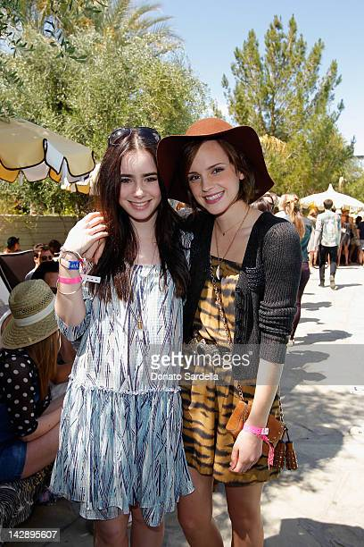 Actors Lily Collins and Emma Watson attend Mulberry BBQ Pool Party at Coachella at the Parker Palm Springs on April 14 2012 in Palm Springs California