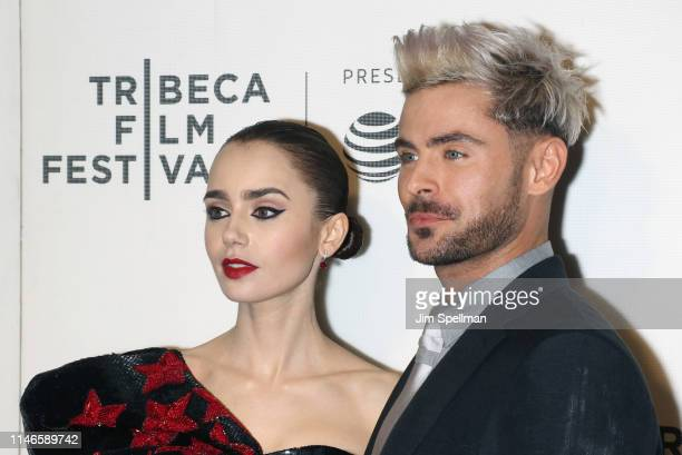 Actors Lily Collins and Zac Efron attend the screening of Extremely Wicked Shockingly Evil and Vile during the 2019 Tribeca Film Festival at BMCC...
