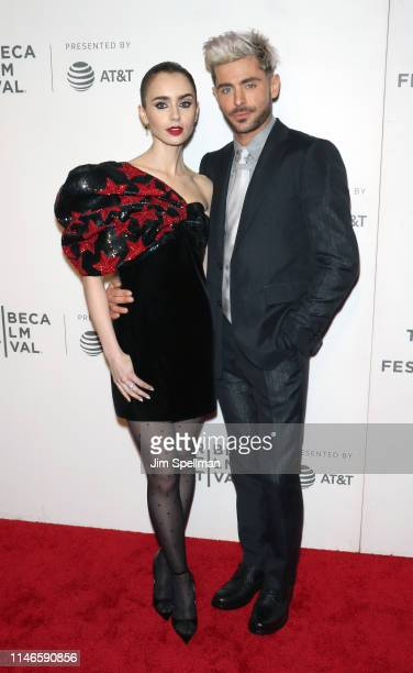 """Actors Lily Collins and Zac Efron attend the screening of """"Extremely Wicked, Shockingly Evil and Vile"""" during the 2019 Tribeca Film Festival at BMCC..."""