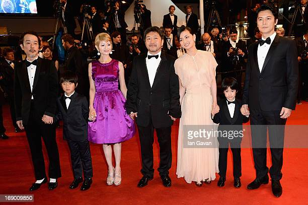 Actors Lily Franky Shogen Whang Yoko Maki director Hirokazu Koreeda actors Machiko Ono Keita Ninomiya and Masaharu Fukuyama attend the 'Soshite...