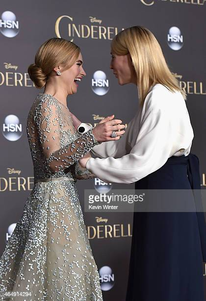 Actors Lily James and Cate Blanchett attend the premiere of Disney's Cinderella at the El Capitan Theatre on March 1 2015 in Hollywood California