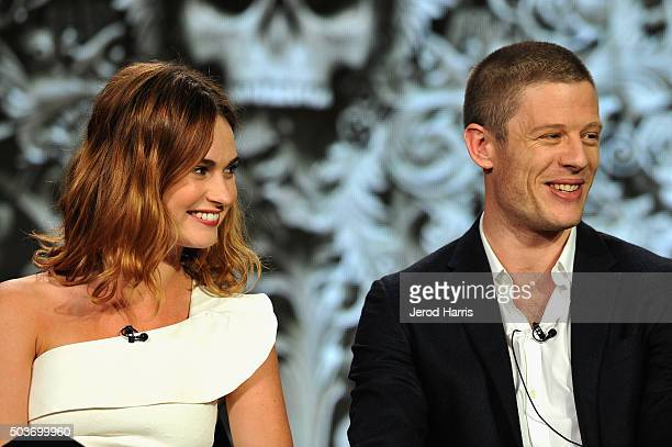 Actors Lily James and James Norton speak onstage during the War and Peace panel at the AE Networks 2016 Television Critics Association Press Tour at...