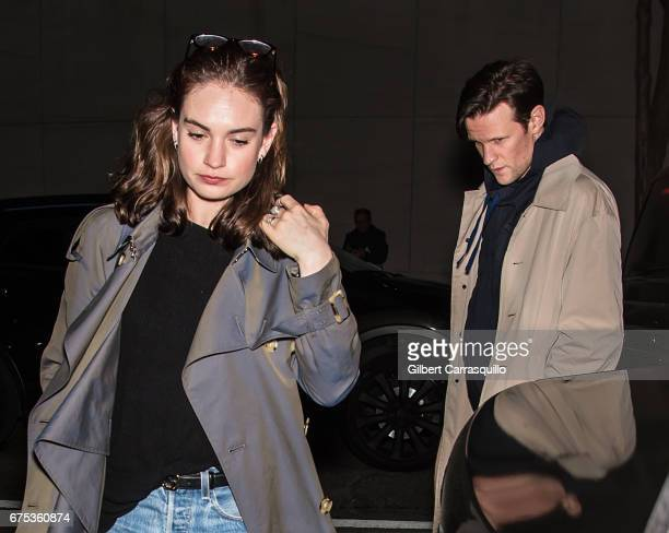 Actors Lily James and Matt Smith are seen on the streets of Manhattan on April 30 2017 in New York City