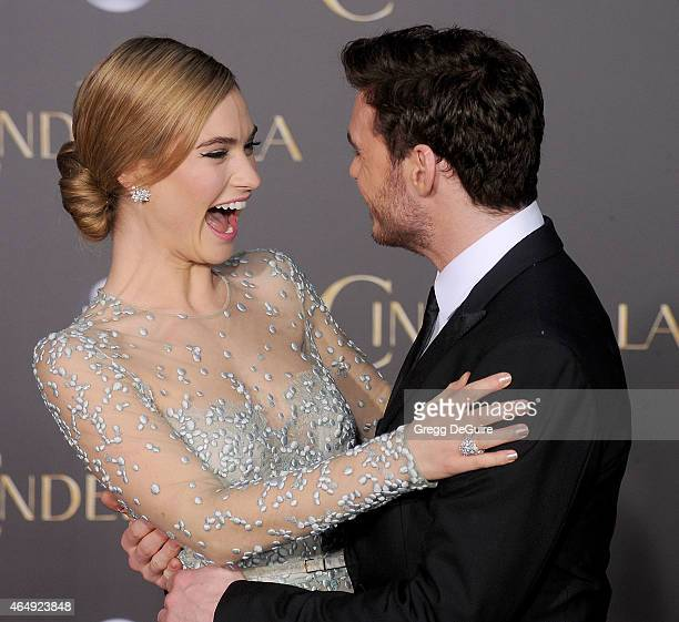 Actors Lily James and Richard Madden arrive at the World Premiere of Disney's 'Cinderella' at the El Capitan Theatre on March 1 2015 in Hollywood...