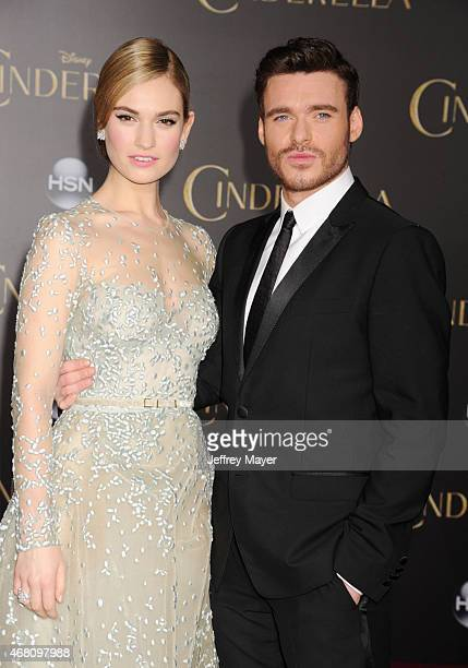 Actors Lily James and Richard Madden arrive at the World Premiere of Disney's 'Cinderella' at the El Capitan Theatre on March 1, 2015 in Hollywood,...