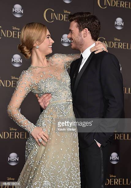 Actors Lily James and Richard Madden attend the premiere of Disney's Cinderella at the El Capitan Theatre on March 1 2015 in Hollywood California