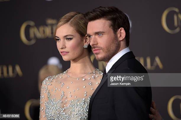 Actors Lily James and Richard Madden attend the premiere of Disney's 'Cinderella' at the El Capitan Theatre on March 1 2015 in Hollywood California