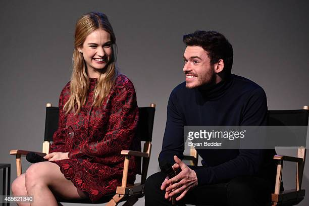 Actors Lily James and Richard Madden speak onstage at the Apple Store Soho Presents Meet the Filmmaker 'Cinderella' at Apple Store Soho on March 8...