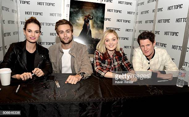 Actors Lily James Douglas Booth Bella Heathcote and Matt Smith appear at a meet and greet for Screen Gems' 'Pride and Prejudice and Zombies' at Hot...