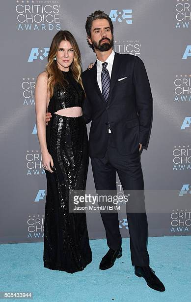 Actors Lily Rabe and Hamish Linklater attend the 21st Annual Critics' Choice Awards at Barker Hangar on January 17 2016 in Santa Monica California