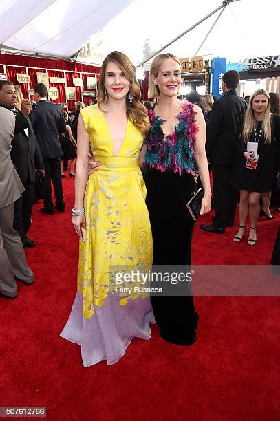 Actors Lily Rabe and Sarah Paulson attend The 22nd Annual Screen Actors Guild Awards at The Shrine Auditorium on January 30 2016 in Los Angeles...