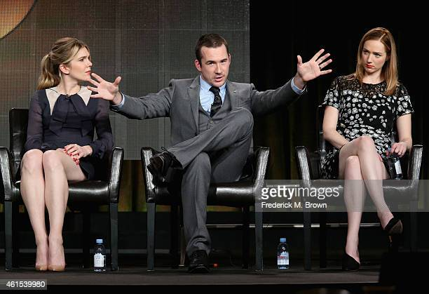 Actors Lily Rabe Barry Sloane and Kristen Connolly speak onstage during the 'The Whispers' panel at the Disney/ABC Television Group portion of the...